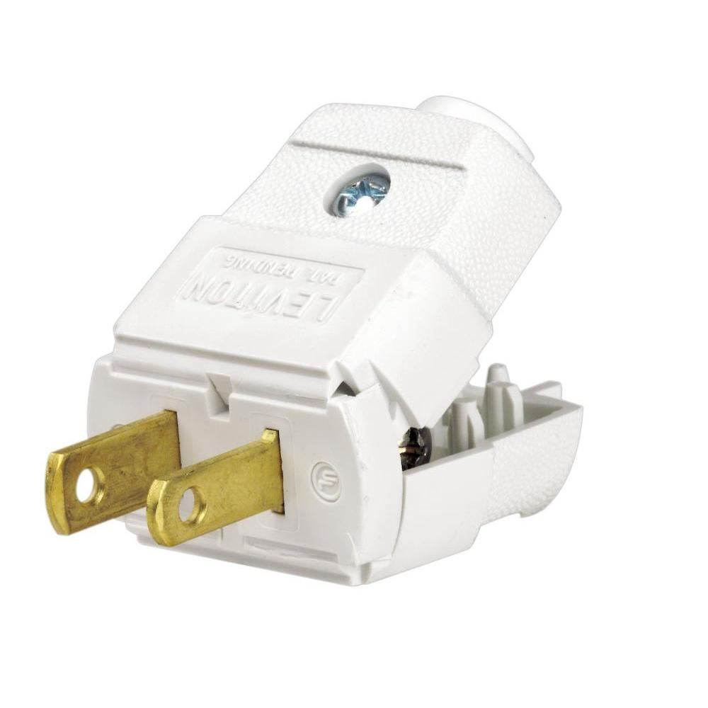 Leviton 15 Amp 125 Volt 2 Pole 2 Wire Polarized Plug White R62 00101 0wh The Home Depot