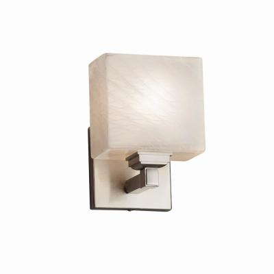 Fusion Regency 1-Light Brushed Nickel Wall Sconce with Weave Shade