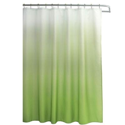 Ombre Waffle Weave 70 in. W x 72 in. L Shower Curtain with Metal Roller Rings in Lime