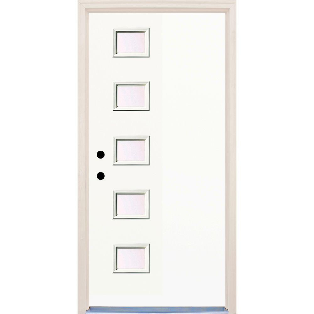 Builder's Choice 36 in. x 80 in. Classic 5 Lite Clear Glass Painted Fiberglass Prehung Front Door with Brickmould