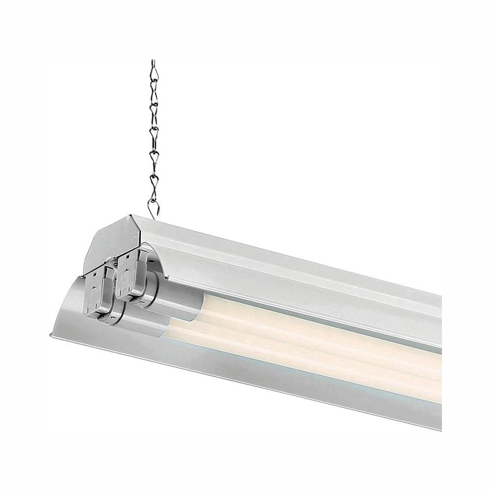 4 ft. 2-Light White LED Shop Light with T8 LED 5000K Tubes