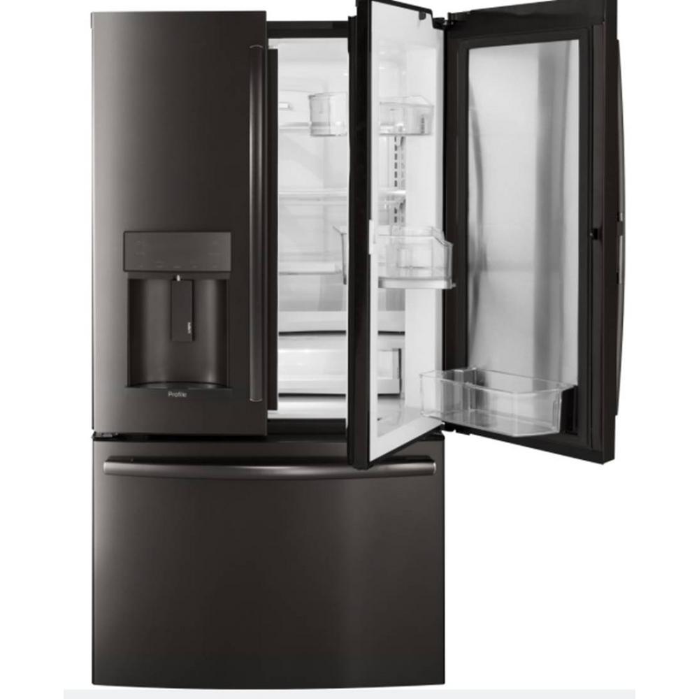 35.75 in. W 22.2 cu. ft. French Door Refrigerator with Door In Door in Black Stainless Steel, Counter Depth