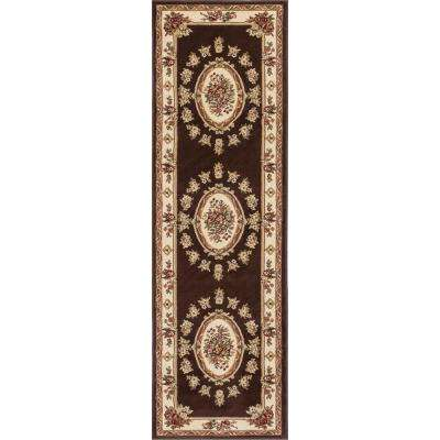 Timeless Le Petit Palais Brown 2 ft. x 7 ft. Traditional Medallion Runner Rug