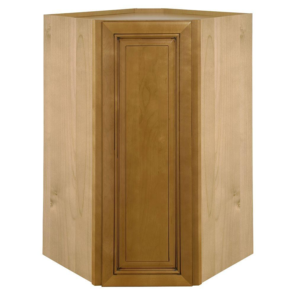 Home Decorators Collection Lewiston Embled 24x30x24 In Wall Angle Corner Cabinet Toffee Glaze