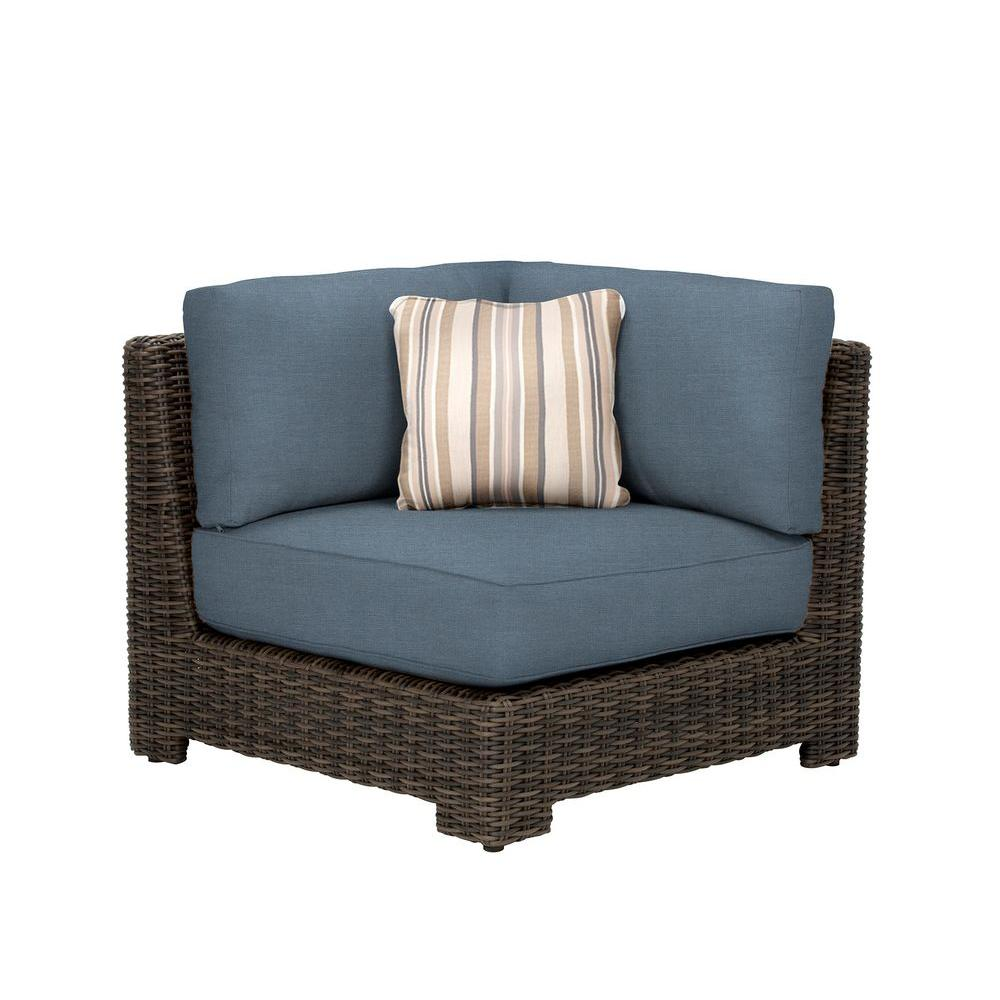 Brown Jordan Northshore Corner Patio Sectional Chair With Denim Cushion And  Terrace Lane Throw Pillow