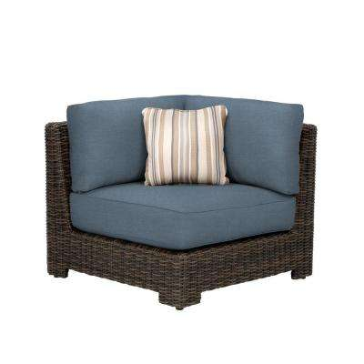 Northshore Corner Patio Sectional Chair with Denim Cushion and Terrace Lane Throw Pillow -- CUSTOM