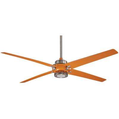 Spectre 60 in. Integrated LED Indoor Brushed Nickel with Orange Ceiling Fan with Light with Remote Control
