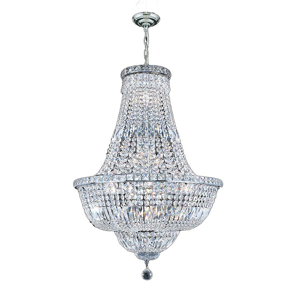 Worldwide Lighting Empire Collection 15-Light Polished Chrome and Crystal Chandelier