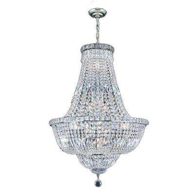 Empire Collection 15-Light Polished Chrome and Crystal Chandelier