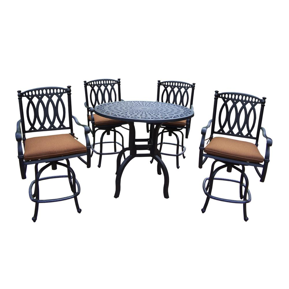 Brown Traditional 5 Piece Round Dining Set Cally: Morocco 5-Piece Aluminum Outdoor Bar Height Dining Set