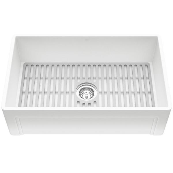 Matte Stone White Composite 30 in. Single Bowl Farmhouse Apron-Front Kitchen Sink Set with Strainer and Silicone Grid