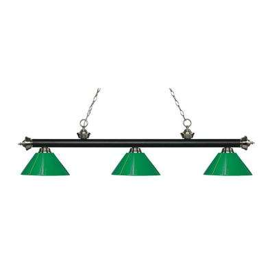 Ferrini 3-Light Matte Black and Brushed Nickel Island Light with Green Shades
