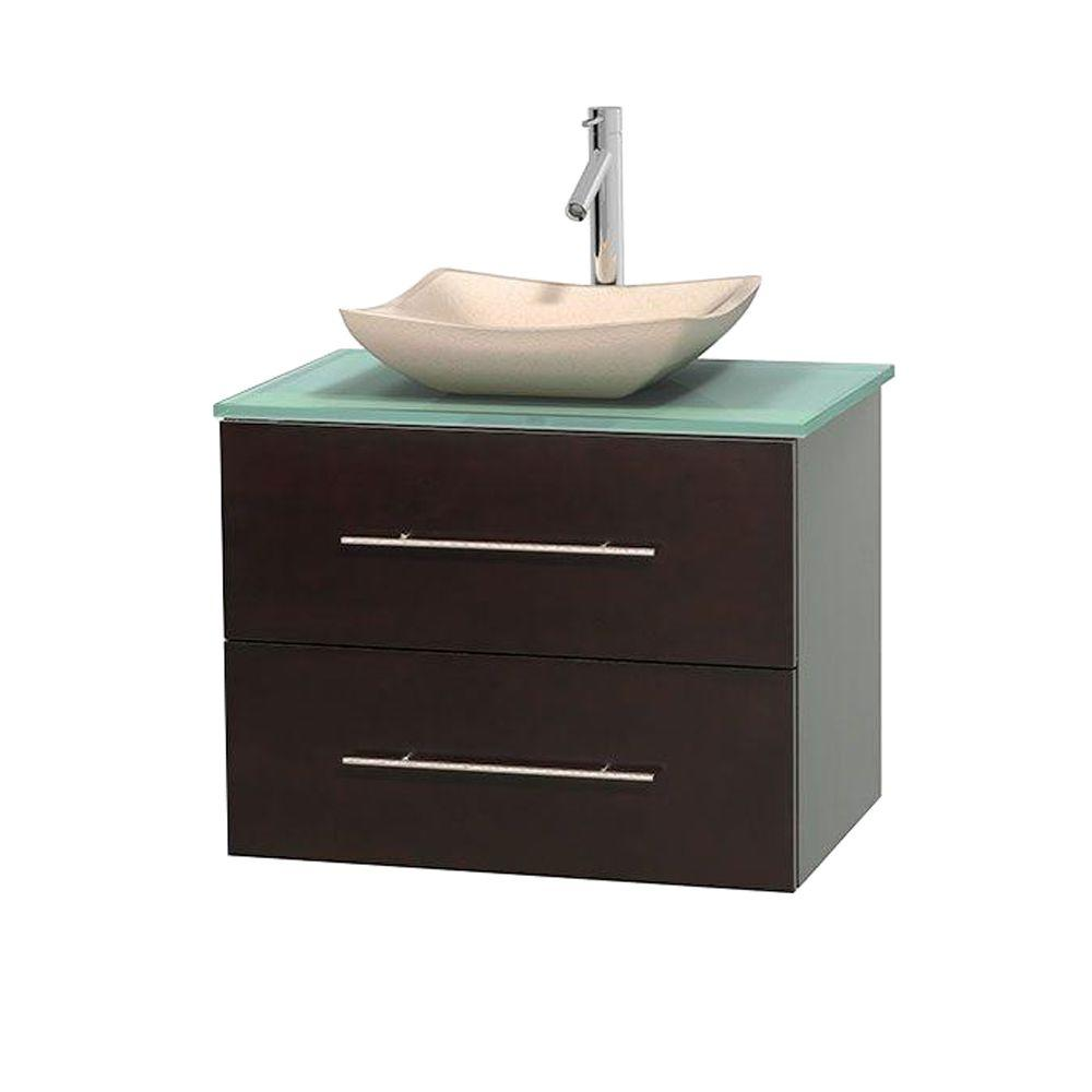 Wyndham Collection Centra In Vanity In Espresso With Glass - Glass top bathroom vanity units