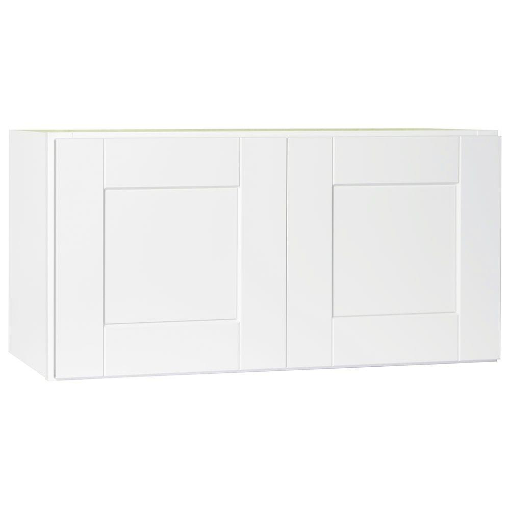 Shaker Assembled 30x15x12 in. Wall Bridge Kitchen Cabinet in Satin White
