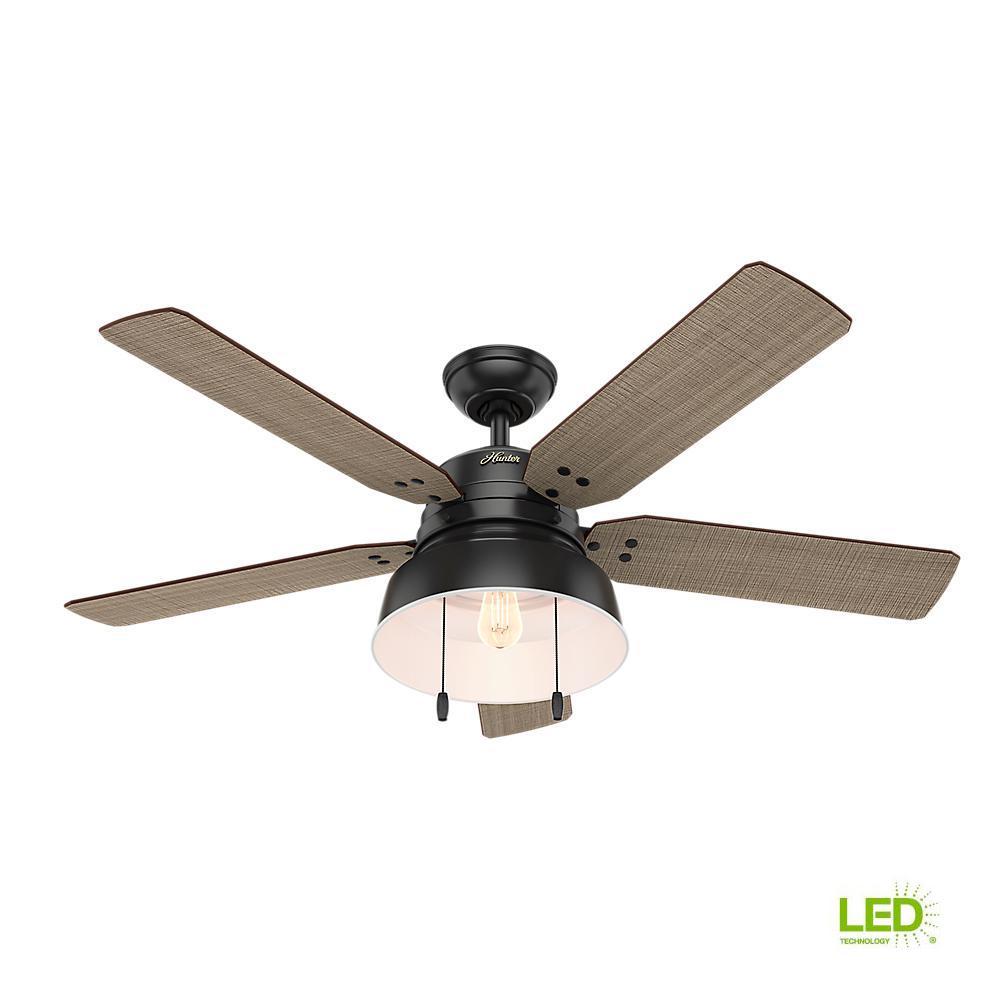 Hunter Mill Valley 52 In Led Indooroutdoor Matte Black Ceiling Fan