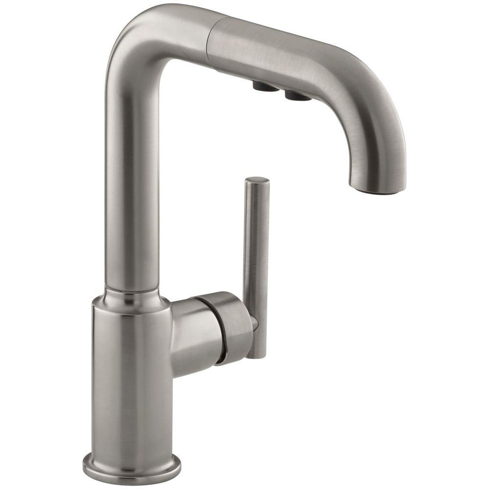 Kohler Purist Single Handle Pull Out Sprayer Kitchen Faucet In Vibrant Stainless