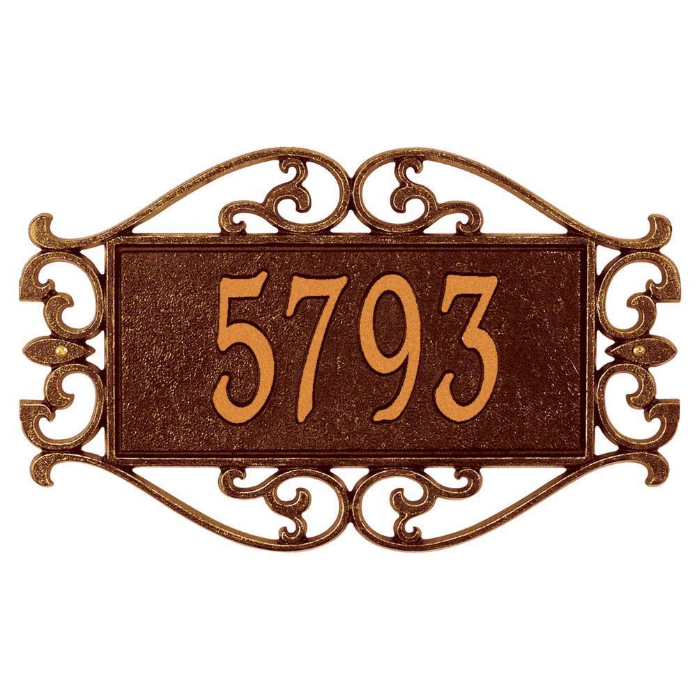 Lewis Fretwork Rectangular Antique Copper Standard Wall One Line Address Plaque