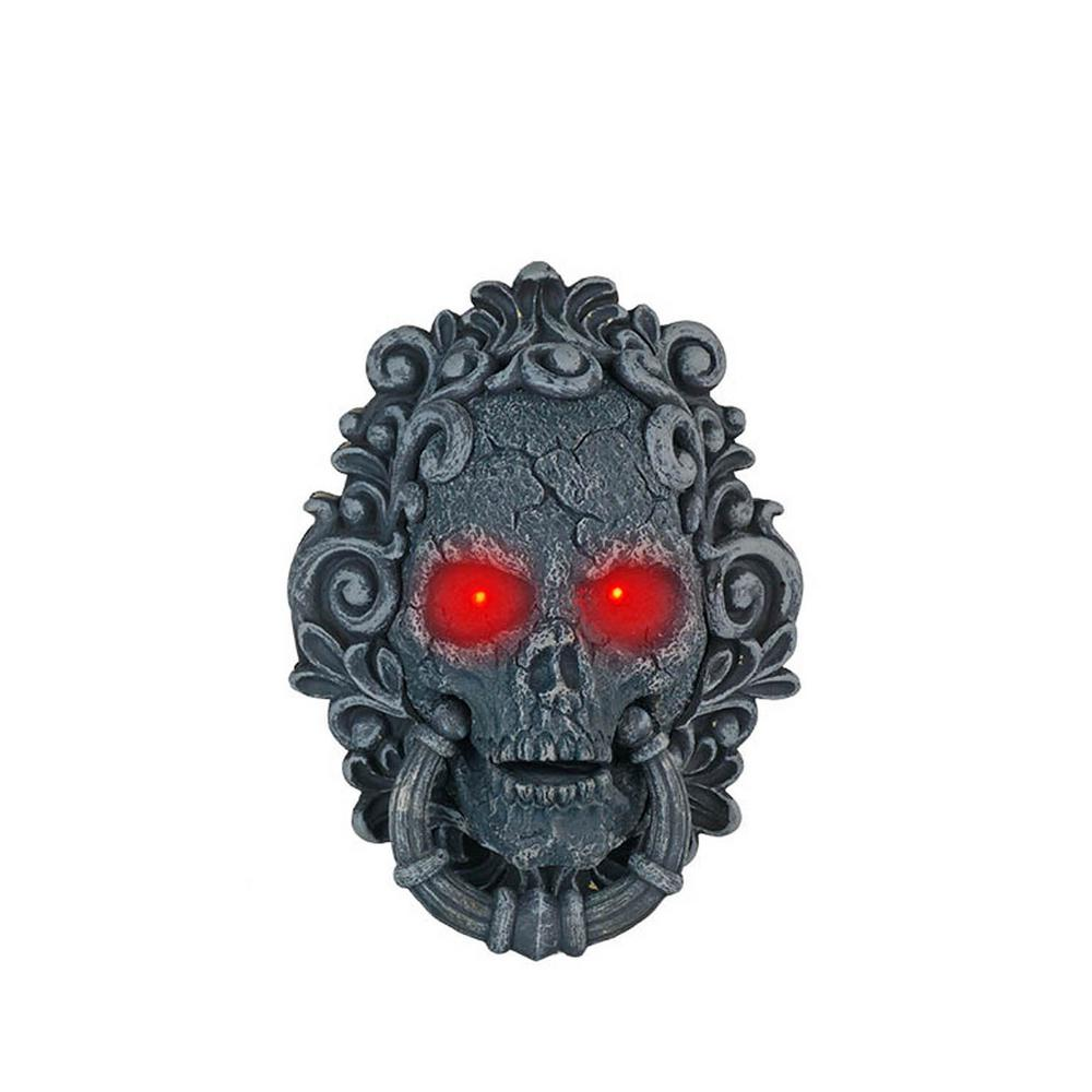 10 in. Animated Halloween Skull Door Bell with LED Illuminated Eyes