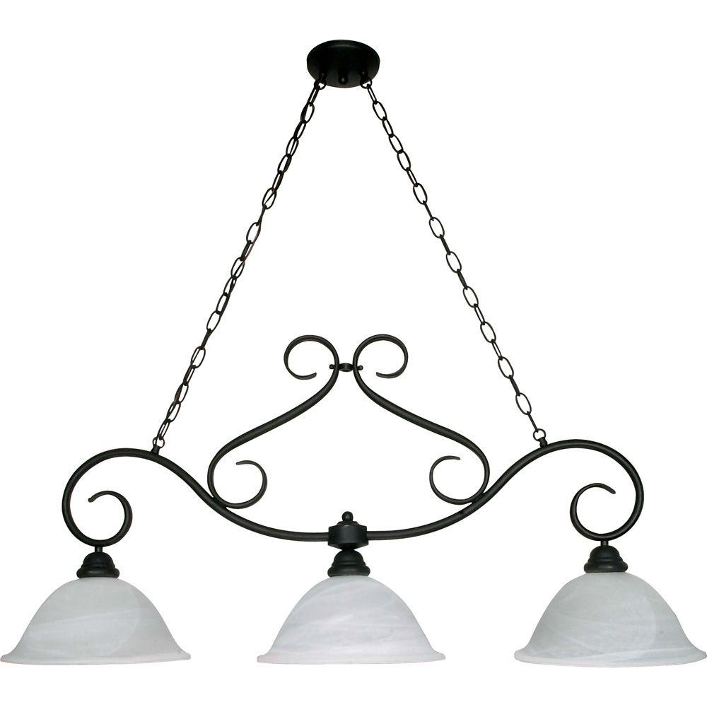 Glomar Adria 3-Light Textured Flat Black Island Pendant with Alabaster Swirl Glass