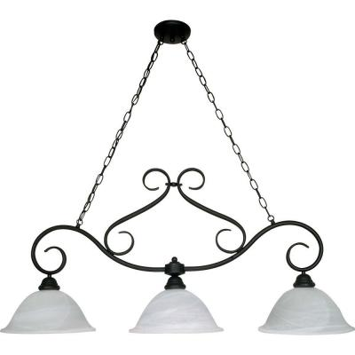 Adria 3-Light Textured Flat Black Island Pendant with Alabaster Swirl Glass
