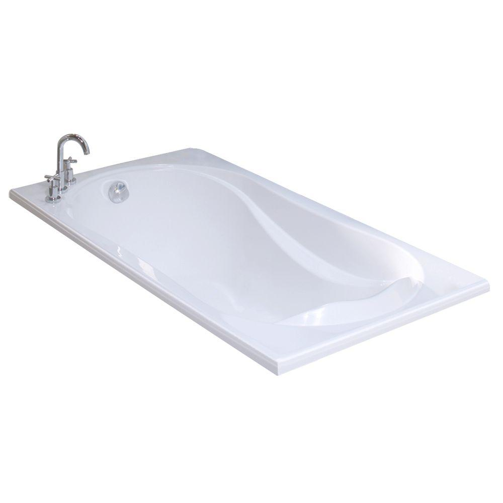 MAAX Velvet 66 In. Acrylic End Drain Rectangular Drop In Soaking Bathtub In  White