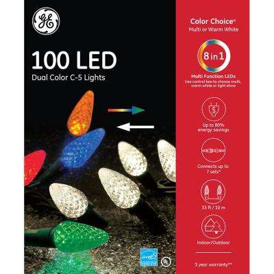 Color Choice Dual Color (Warm White / Multi) LED 100-Light C5 Diamond Cut Color Choice Light Set