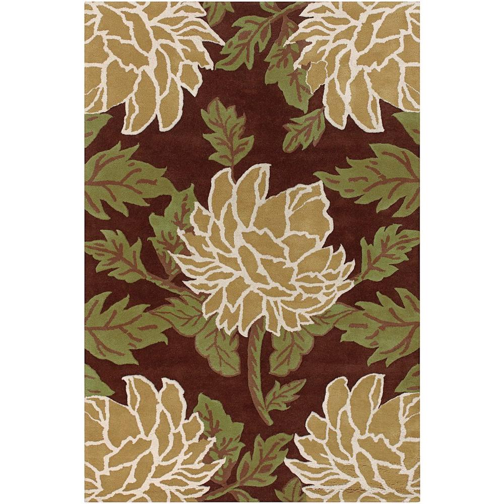 Chandra Rowe Brown Green Tan White 5 Ft X 8 Ft Indoor Area Rug