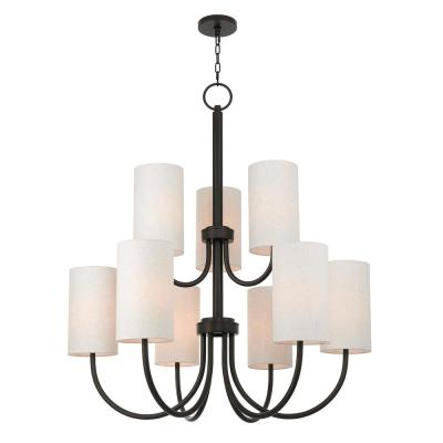 Haddonfield 9-Light English Bronze Foyer Chandelier with Oatmeal Outside and White Inside Hardback Shades