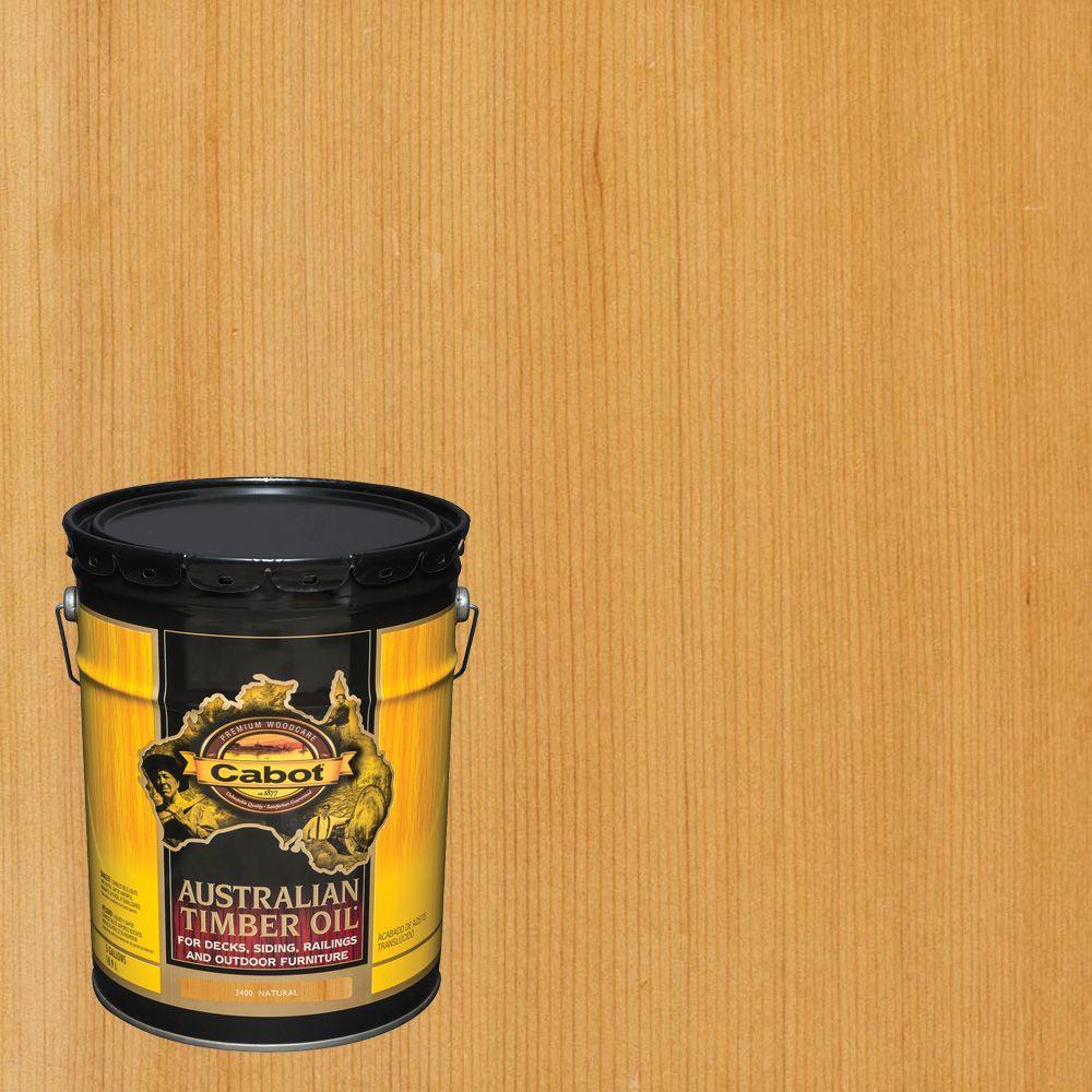 Exterior Wood Stain Natural: Cabot 5 Gal. Natural Australian Timber Oil Exterior Wood