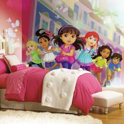 72 in. x 126 in. Dora and Friends XL Chair Rail Prepasted Wall Mural (7-Panel)