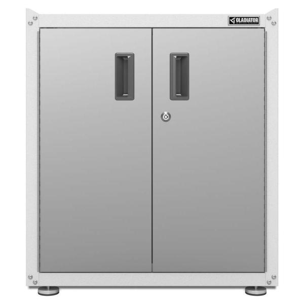 Ready to Assemble 31 in. H x 28 in. W x 18 in. D Steel 2-Door Freestanding Garage Cabinet in White