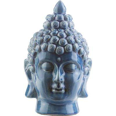 Hansh 7.9 in. x 12.6 in. Decorative Buddha Bust in Denim
