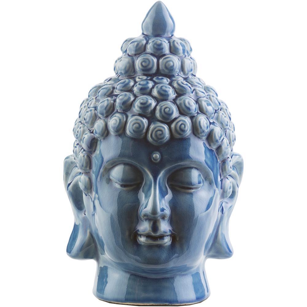 Hansh 7.9 in. x 12.6 in. Decorative Buddha Bust in Denim