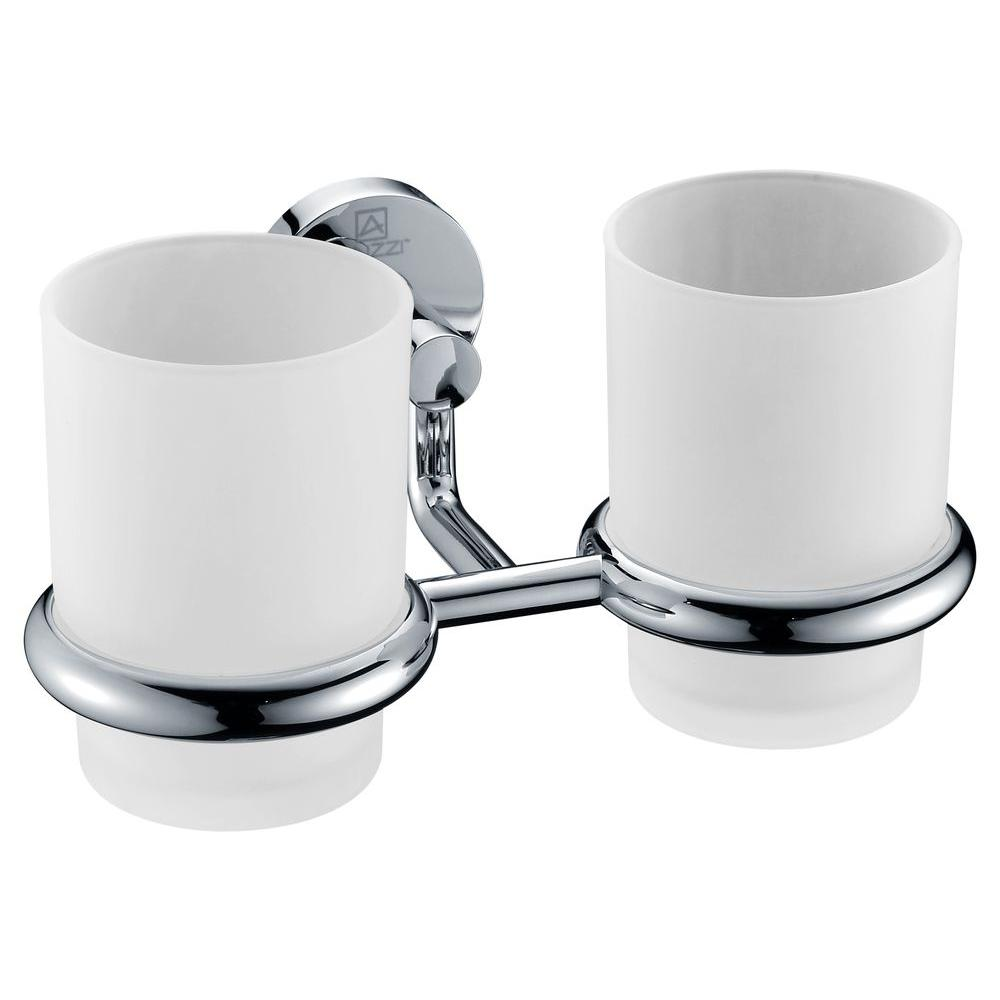 Double Toothbrush Holder In Polished Chrome