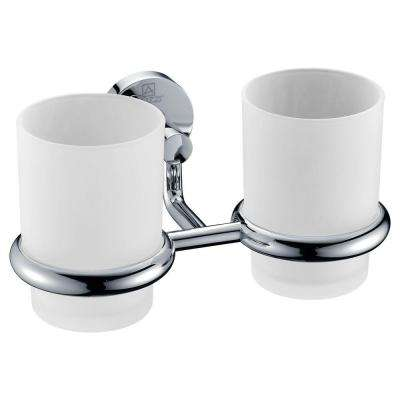 Caster Series 7.36 in. Double Toothbrush Holder in Polished Chrome
