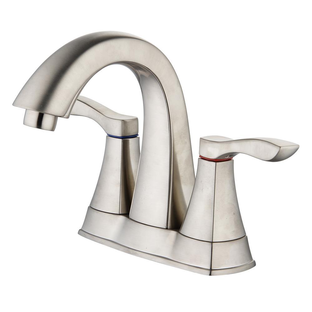 Moonstone 4 in. Centerset 2-Handle Bathroom Faucet in Brushed Nickel