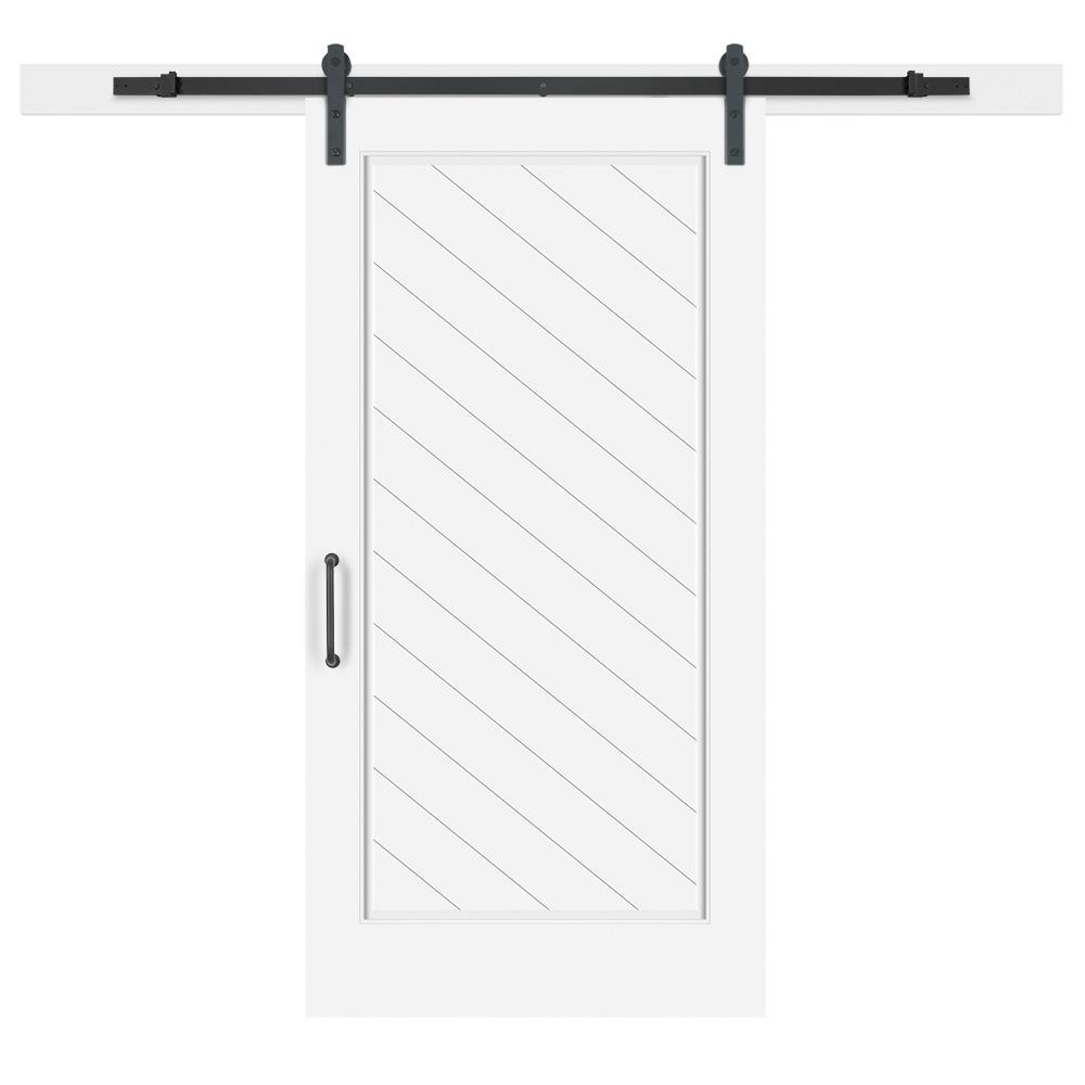 Jeff Lewis 42 in. x 84 in. White Collar Composite 1-Panel Herringbone Solid-Core MDF Barn Door with Sliding Door Hardware Kit