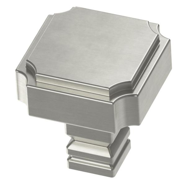 Notched 1-1/8 in. (28mm) Satin Nickel Square Cabinet Knob
