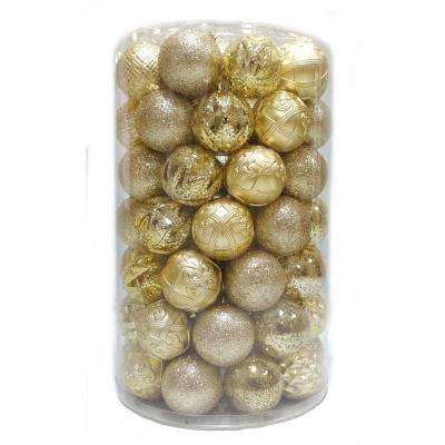 Holiday Traditions 3 in. Ornament Tube in Gold (75-Count)
