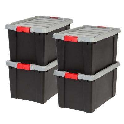 11.7 Gal. Store-It-All Tote in Black (4-Pack)