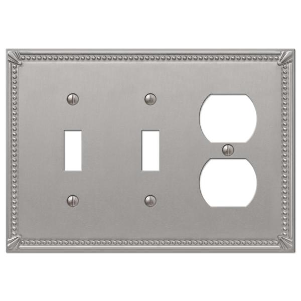 Imperial Bead 3 Gang 2-Toggle and 1-Duplex Metal Wall Plate - Brushed Nickel