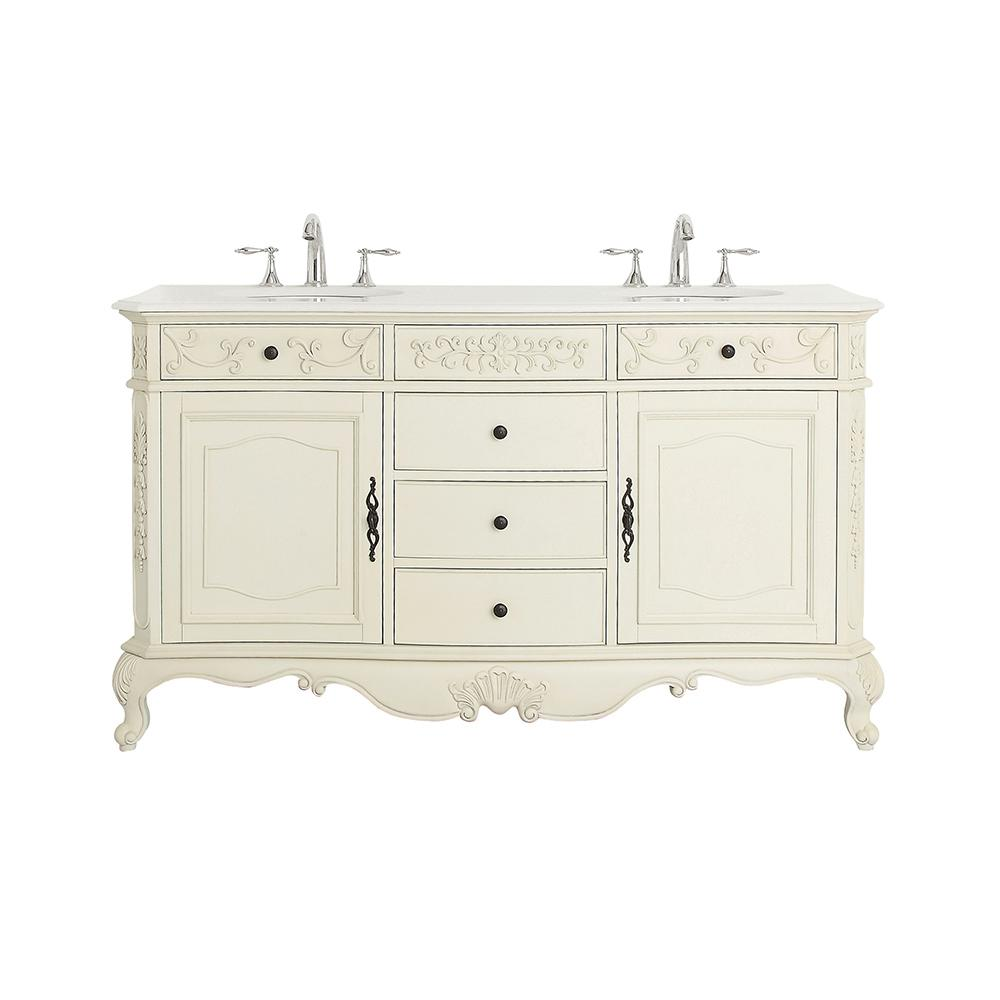 Home Decorators Collection Winslow 60 in. W x 22 in. D Vanity in Antique White with Marble Vanity Top in White with White Sinks