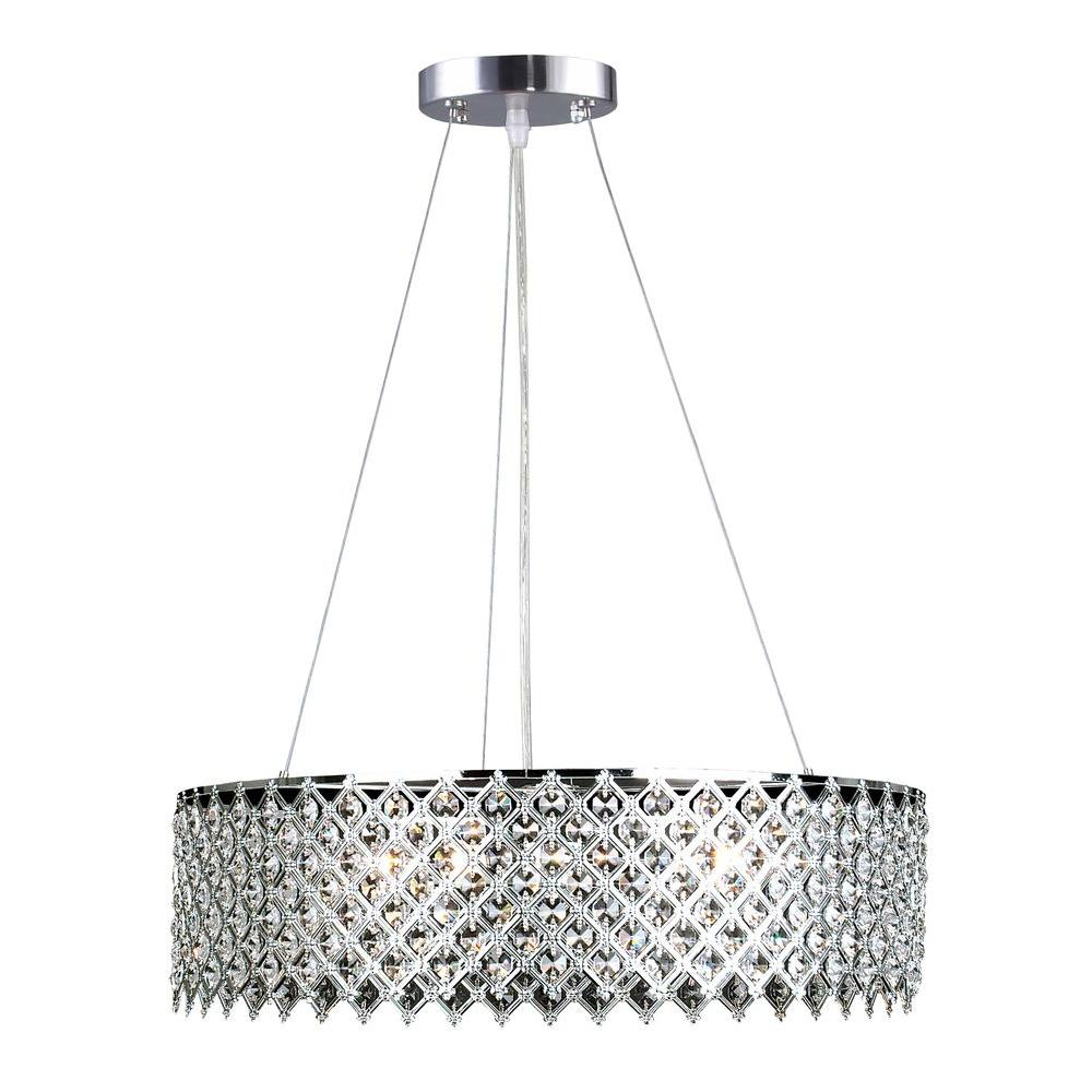 Decor living 3 light crystal and chrome chandelier 104327 15 the home depot - Ceiling lights and chandeliers ...