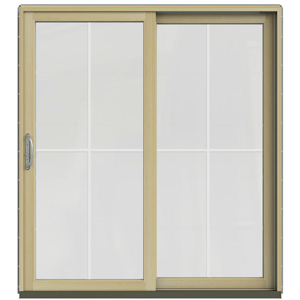 Jeld wen 71 1 4 in x 79 1 2 in w 2500 arctic silver for Prehung sliding glass doors