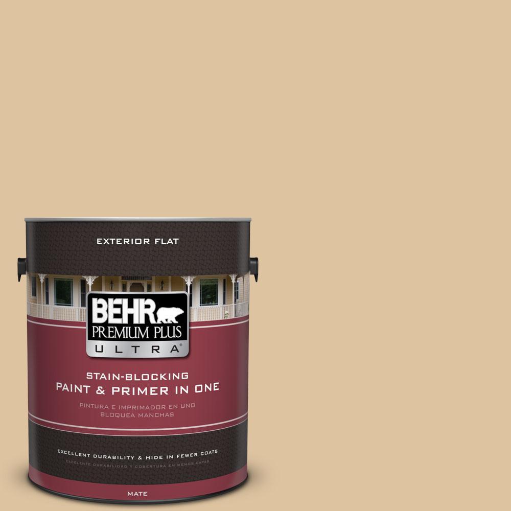 BEHR Premium Plus Ultra 1-gal. #S300-3 Almond Cookie Flat Exterior Paint