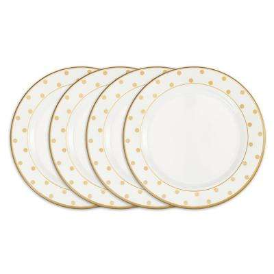 Moonbeam 4-Piece Gold Melamine 10.5 in. Dots Dinner Plate Set