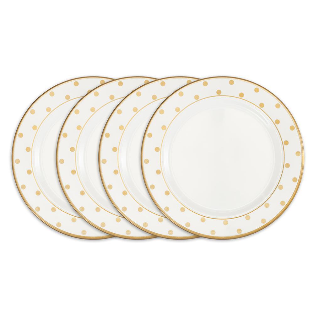 Moonbeam 4-Piece Gold Melamine 10.5 in. Dots Dinner Plate Set