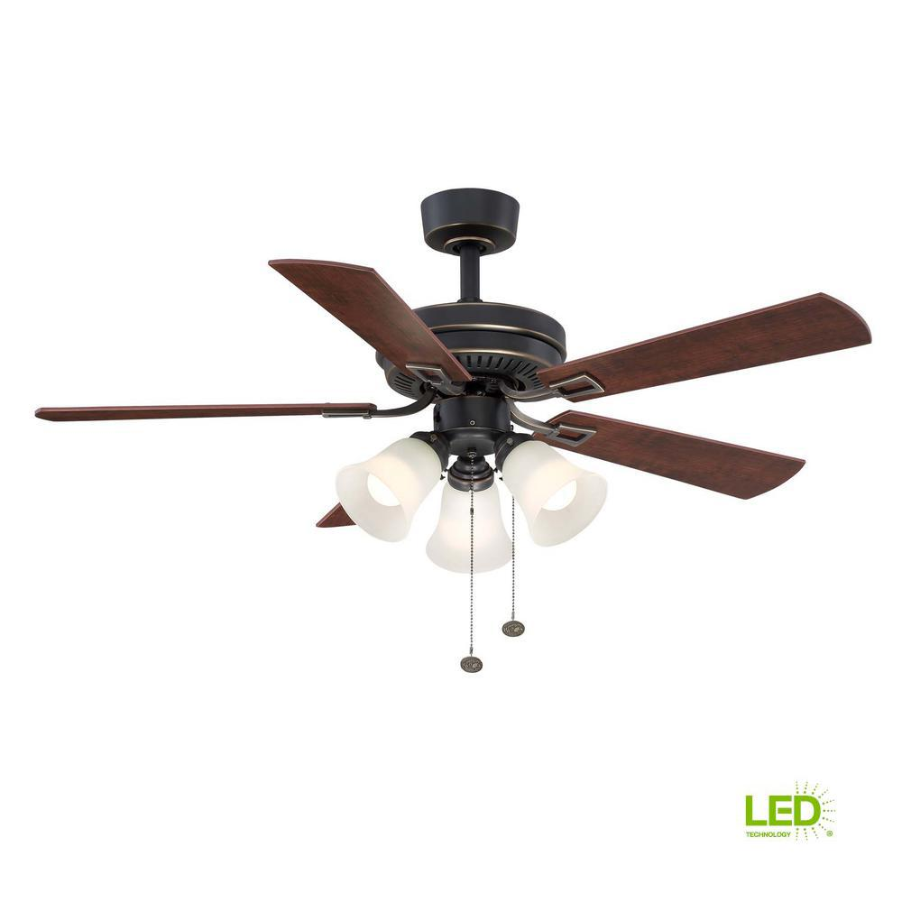 Hampton Bay Sinclair 44 In Led Indoor Tarnished Bronze Ceiling Fan Light Kit Wiring Diagram Fans With