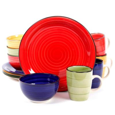 Color Speckle 12-Piece Rustic Assorted Stoneware Dinnerware Set (Service for 4)