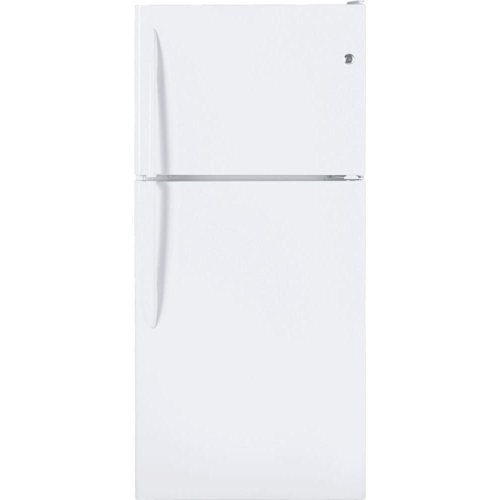 GE 30 in. W 20 cu. ft. Top Freezer Refrigerator in White
